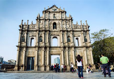 St paul's church ruins tourist attraction landmark in macau chin Royalty Free Stock Photo