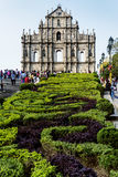 St paul's church ruins tourist attraction landmark in macau chin Royalty Free Stock Image