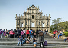 St paul's church ruins tourist attraction landmark in macau chin Stock Photos