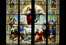 St. Paul's conversion. Stined glass in the Cathedral of Cologne which describes the conversion of Saint Paul. It is an event described in the Acts of the royalty free stock photos