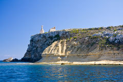 St. Paul's Island, Malta. St. Paul's Island (Selmunett) near the north-east of Malta with the statue of the saint. This island is identified as the location for Royalty Free Stock Photos