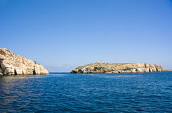 St. Paul's Island, Malta. St. Paul's Island (Selmunett) near the north-east of Malta with the statue of the saint. This island is identified as the location for Stock Photos
