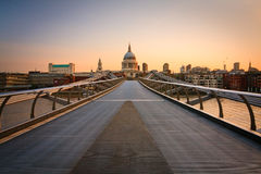 St. Paul's and Millenium bridge, London. Royalty Free Stock Photography