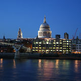 St Paul's and Millennium bridge Royalty Free Stock Photos