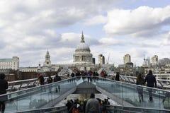St Paul's and Millennium Bridge, London Royalty Free Stock Images