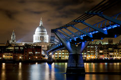 St Paul's and Millennium Bridge at Night Stock Image