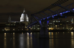 St Paul's and Millennium Bridge at night, London Royalty Free Stock Photography