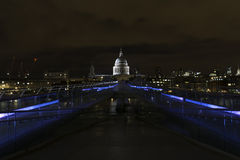 St Paul's and Millennium Bridge at night, London Royalty Free Stock Images