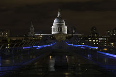 St Paul's and Millennium Bridge at night, London Stock Photography