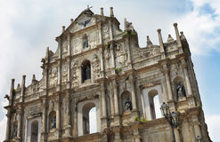 St Paul's Ruins in Macao, China. Architectural detailed closeup view of St Paul's Ruins facade in Macau, China Royalty Free Stock Image