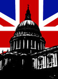 St Paul's And UK Flag. St Paul's Cathedral in London with the UK Flag Royalty Free Stock Image