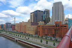 St. Paul skyline. A picture of St. Paul corporations by riverfront Royalty Free Stock Image