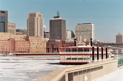 St. Paul skyline from Harriet Island. A picture of St. Paul skyline from Harriet Island with showboat in foreground Stock Photography
