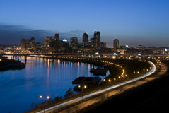 St Paul Skyline at Night. This is a picture of the St Paul Minnesota skyline with the Mississippi river in the foreground Stock Photo
