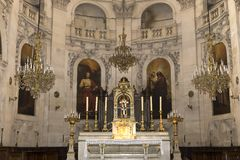 St Paul St Louis kyrka, Paris, Frankrike Arkivbild