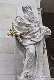 St. Paul statue, Salzburg Cathedral at Domplatz, Austria. royalty free stock photography