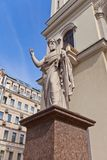 St Paul statue of St Peter Lutheran Church (1838) in St Petersbu Stock Photos