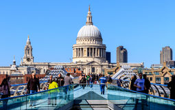 St Paul's Cathedral and the Millennium Bridge in London Royalty Free Stock Photo