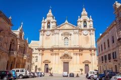 St Paul& x27; s Kathedraal in Mdina, Malta Stock Afbeelding