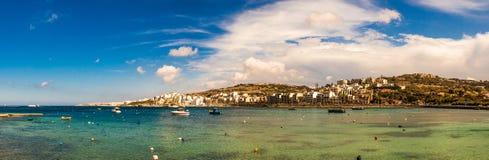 St Paul zatoka, Malta zdjęcie stock