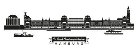 St Pauli mol, Starego Elbe łodzi sylwetka, Tunelowych i turystycznych Zdjęcia Royalty Free