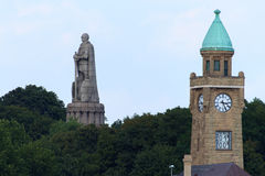 St. Pauli water level tower and Bismarck Monument Royalty Free Stock Photography