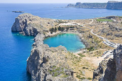 St Pauls海湾在Lindos,希腊 库存图片