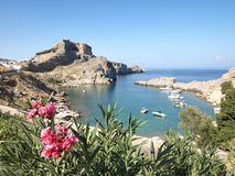 St.Pauls bay. The most popular bay in Lindos, Rhodes Island, Greece stock photo
