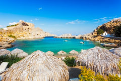 St Pauls Bay Lindos. Beautiful cove at St Pauls Bay Lindos Rhodes Greece Europe royalty free stock photography