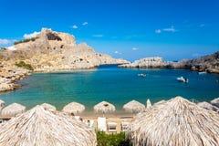 St Pauls Bay Lindos. Beautiful cove at St Pauls Bay Lindos Rhodes Greece Europe stock photo