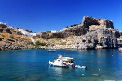 St Pauls Bay Lindos Rhodes Greece Stock Images