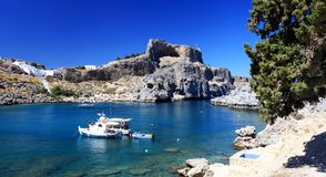 St Pauls Bay Lindos Rhodes Greece Stock Photos