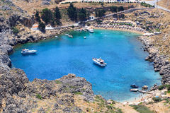 St Pauls Bay in Lindos in Rhodes Stock Photography