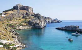 St Pauls Bay Lindos. Rhodes Greece Europe Stock Photos