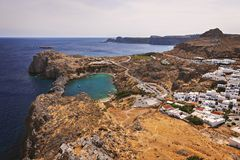 St Pauls Bay Lindos Rhodes. View of St Pauls Bayby Lindos village. Rhodes, Greece stock image