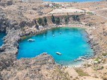St Pauls Bay near Lindos Acropolis royalty free stock photo