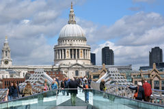 St Pauls Cathedral as view from Millennium Bridge Royalty Free Stock Image