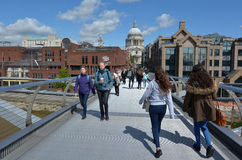 St Pauls Cathedral as view from Millennium Bridge Stock Photography