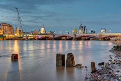 St Pauls cathedral, Blackfriars Bridge and the City stock photos