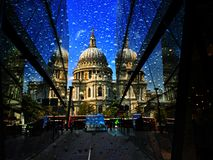 St Pauls Cathedral Heavy Rain stock photo