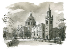 St Pauls Cathedral Illustration stock illustration