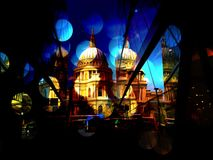 St Pauls Cathedral with lights stock photos