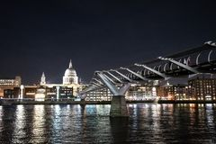 St Pauls Cathedral lit up at night stock images