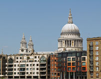 St Pauls Cathedral London. View of Saint Pauls Cathedral in London with city offices Stock Image