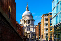 St Pauls Cathedral in London. Against a blue sky stock photography