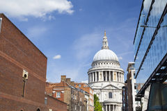 St. Pauls Cathedral in London with blue sky Royalty Free Stock Images