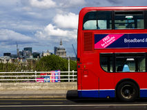 St. Pauls Cathedral & London Bus. From Waterloo Bridge, London Royalty Free Stock Image