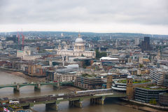 St. Pauls cathedral. London panorama with River Thames and London bridges Royalty Free Stock Images