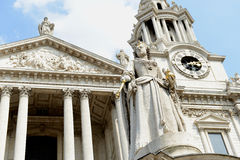 St Pauls Cathedral London. Statues and ornate architecture of historic St. Paul's Cathedral, London, England stock photography