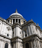St Pauls Cathedral in London , UK. St Pauls Cathedral from rooftop of red double-deckers in London , UK Royalty Free Stock Image